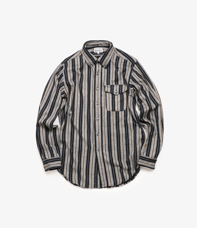 Workaday by Engineered Garments BD Shirt - Black/Grey Regent Stripe Flannel