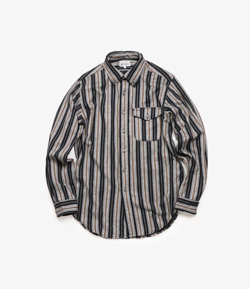 Workaday by Engineered Garments BD Shirt - Black/Grey Regent Stripe Flannel