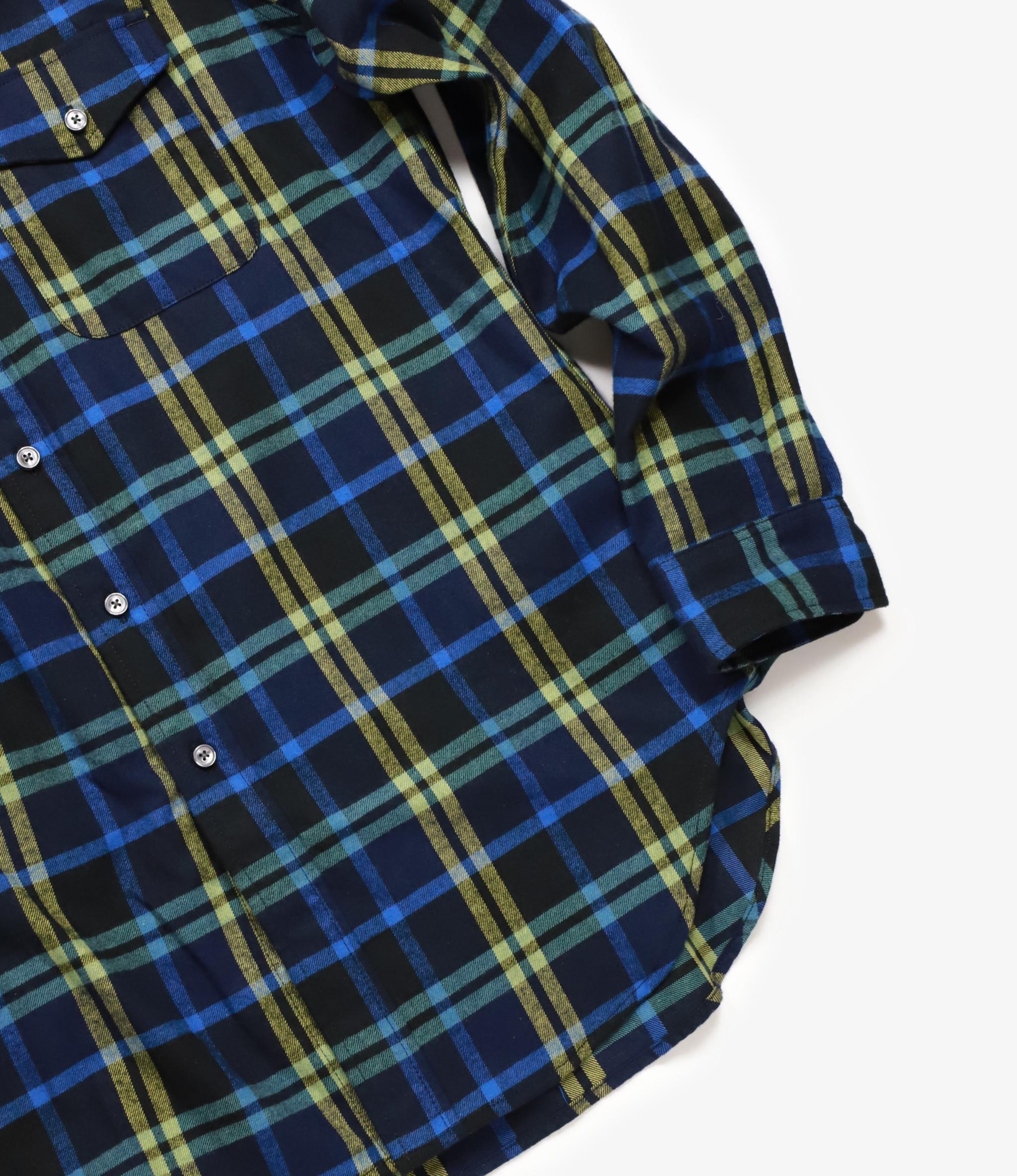 Workaday by Engineered Garments BD Shirt - Dark Navy/Yellow/Blue Plaid Flannel