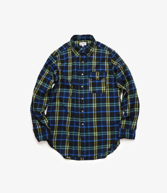 Workaday by Engineered Garments BD Shirt - Dark Navy/Yellow/Blue Plaid Flannel