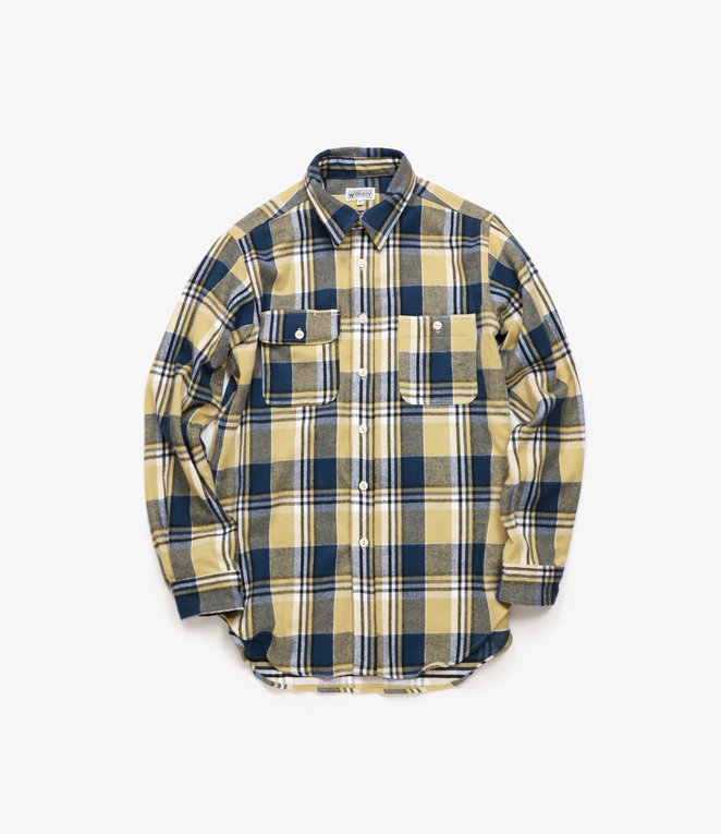 Workaday by Engineered Garments Utility Shirt - Khaki/Navy/White Plaid Flannel