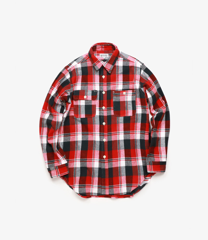 Workaday by Engineered Garments Utility Shirt - Red/Navy/White Plaid Flannel