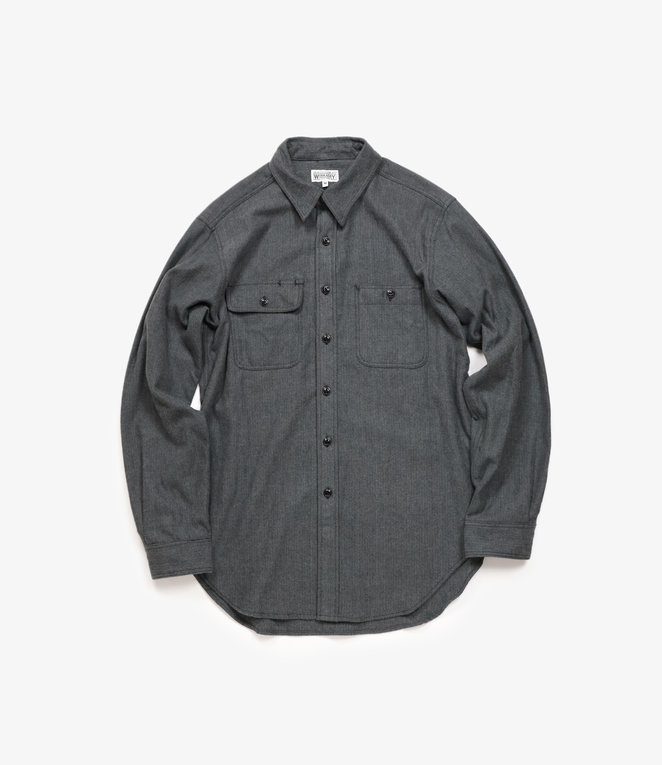 Workaday by Engineered Garments Utility Shirt - Grey Cotton Herringbone Flannel