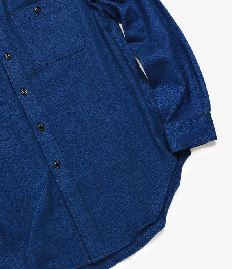 Workaday by Engineered Garments Utility Shirt - Navy Cotton Herringbone Flannel