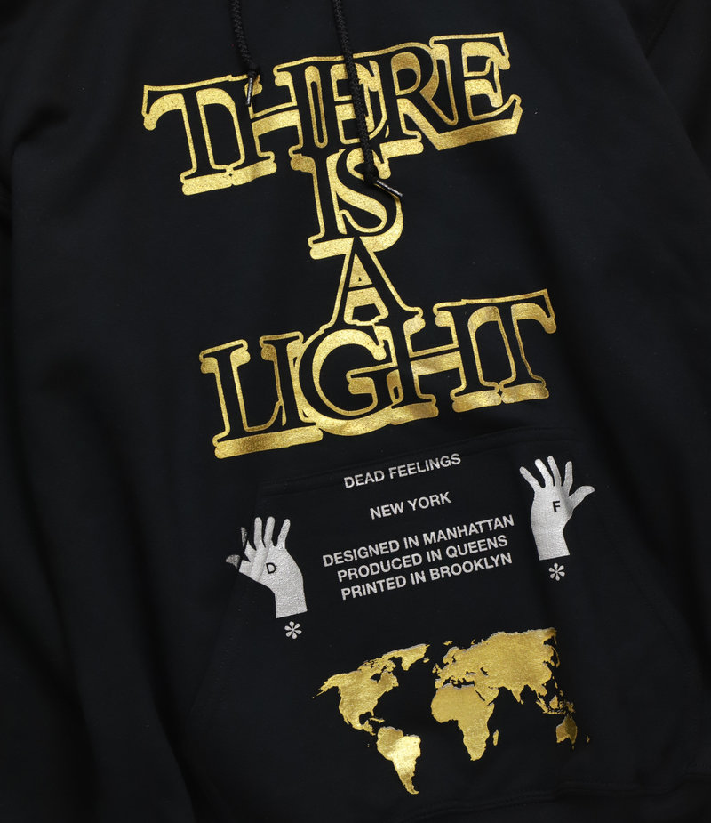 Printed Hoody - Black - There is a light
