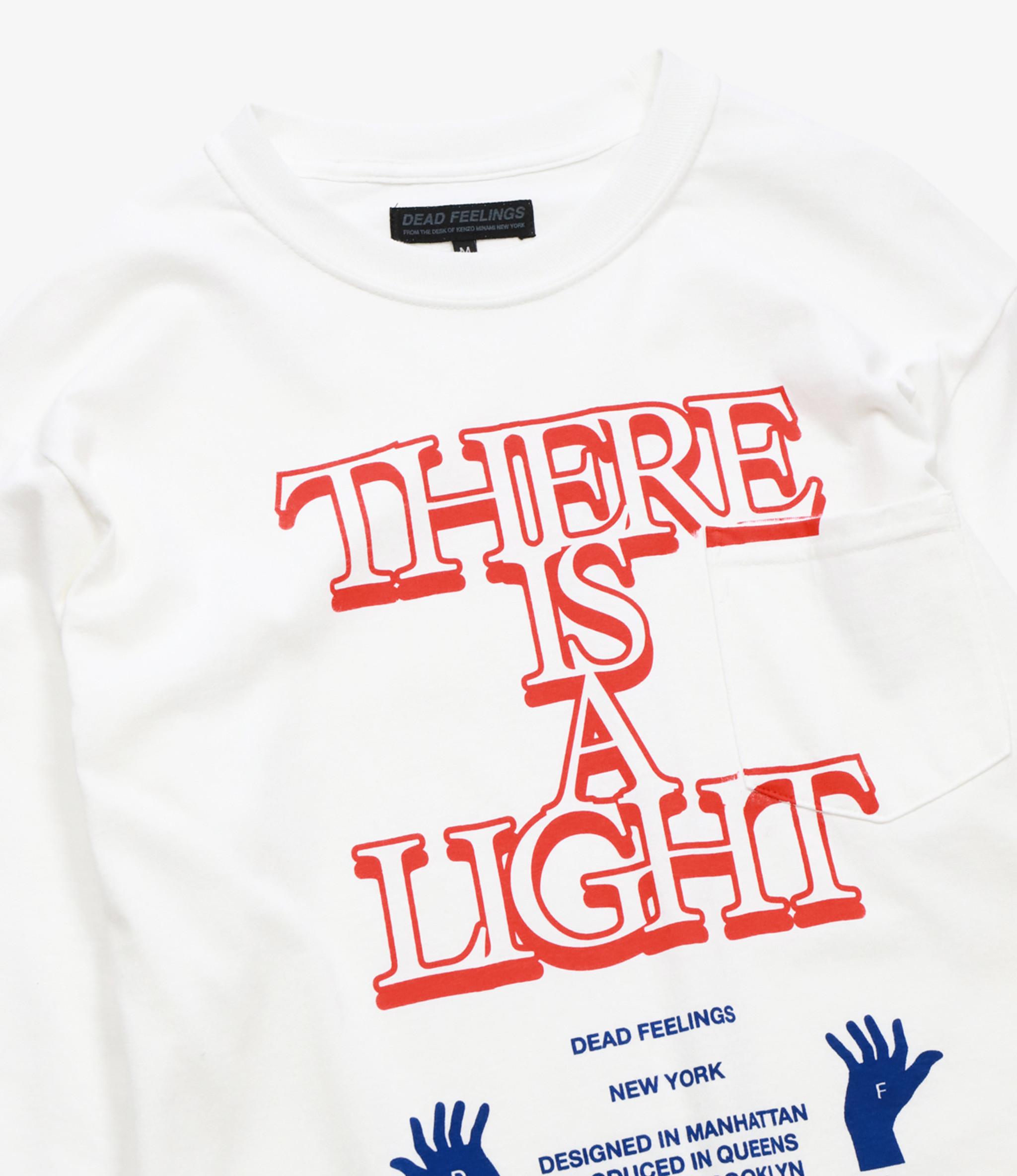 L/S Pocket T-Shirt - White - There is a light