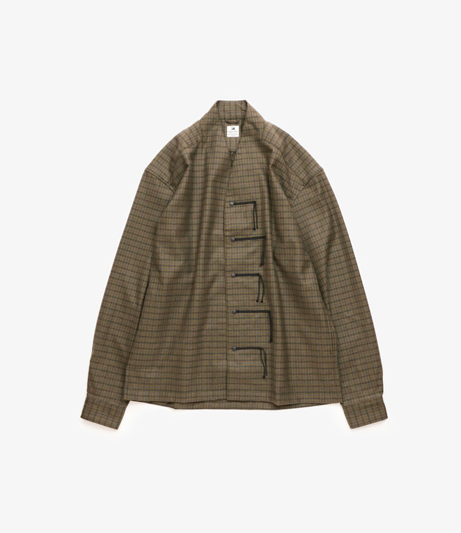 Sasquatchfabrix. Oriental Wa-Neck Shirt - Dark Green Check
