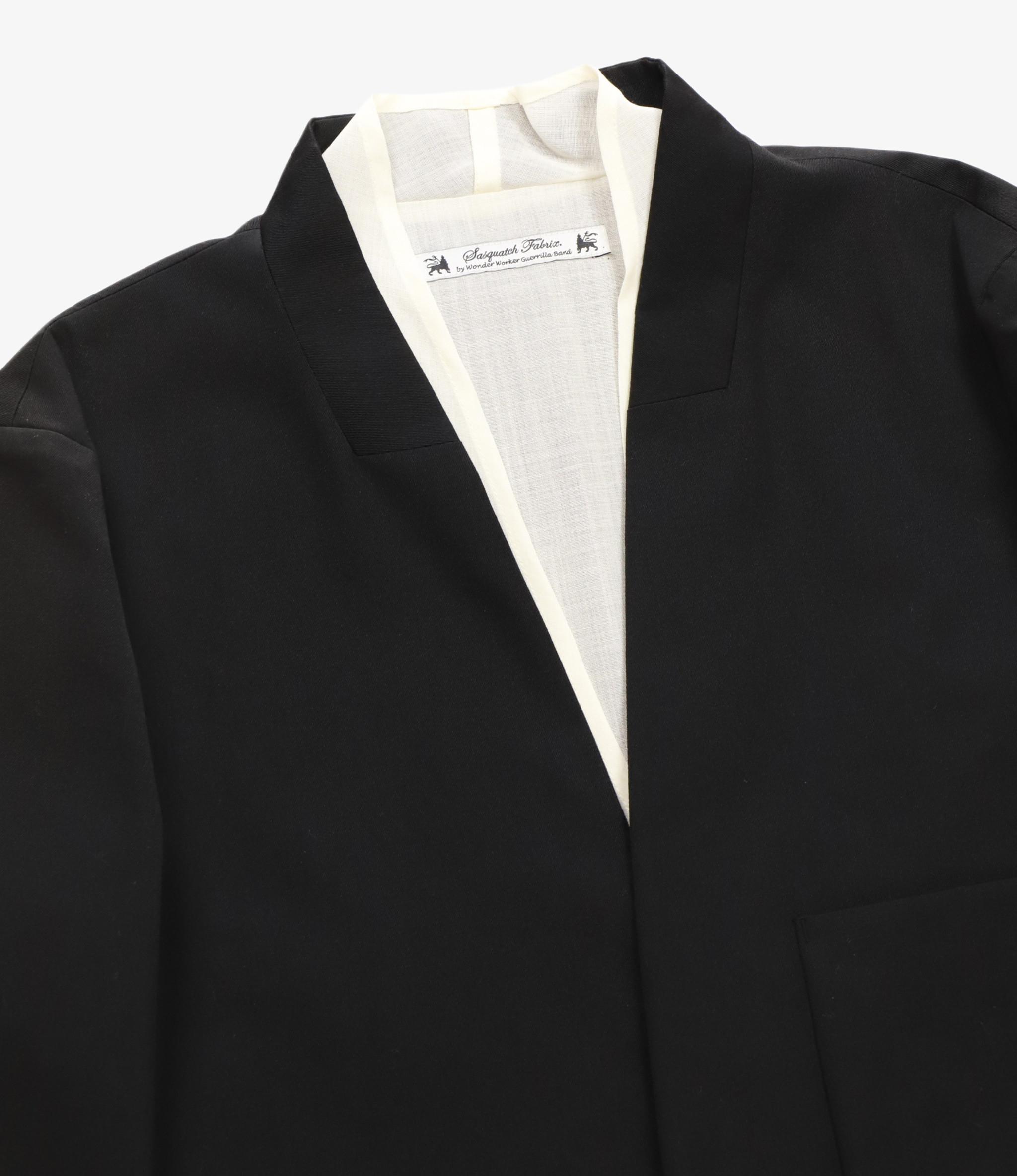 Sasquatchfabrix. Layered Oriental Lapel Jacket - Black