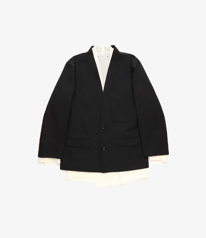 Sasquatchfabrix. Layered Oriental Lapel Jacket - Black