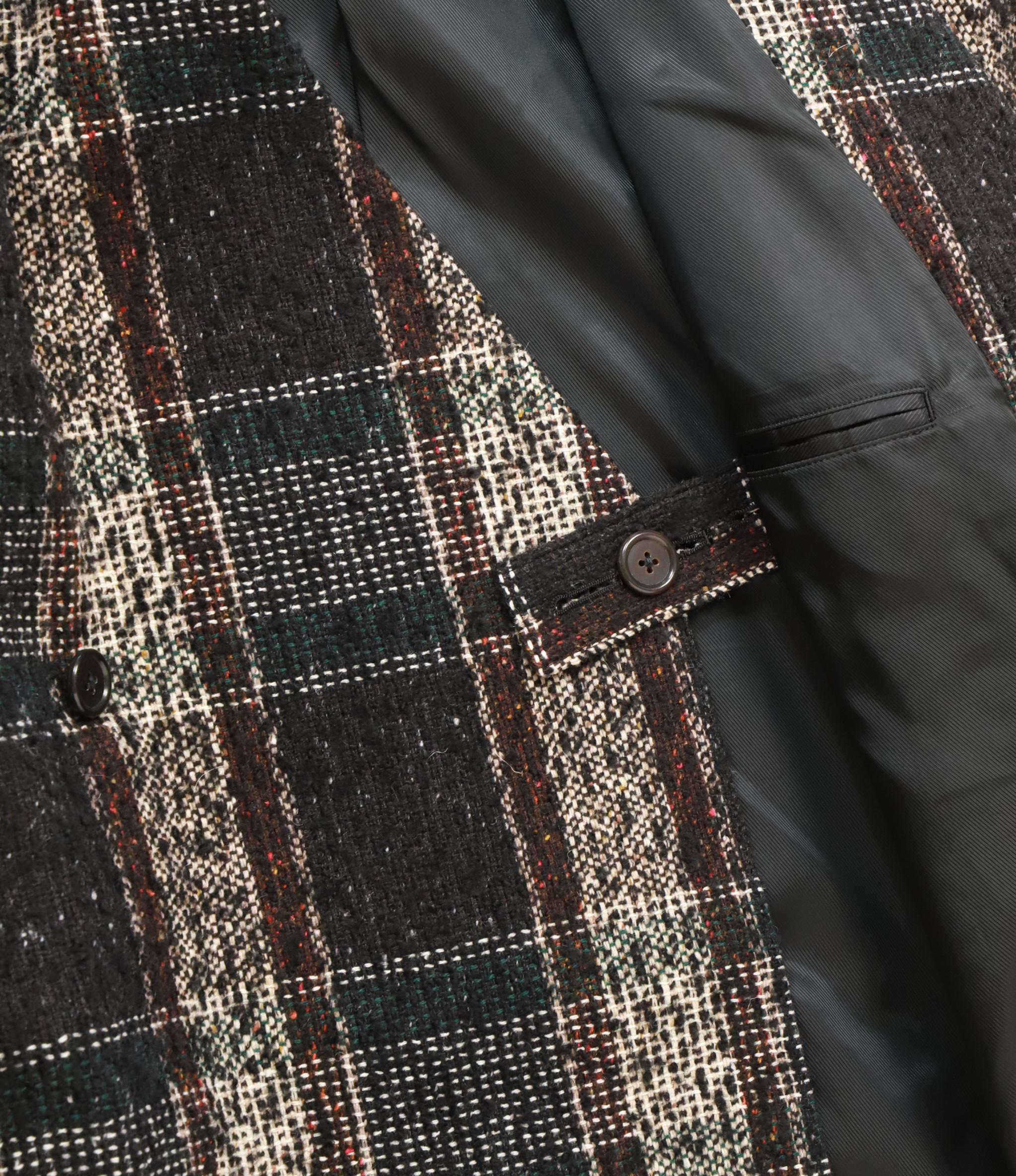 Sasquatchfabrix. Tweed Oriental Wrap Coat - Black x Beige Check