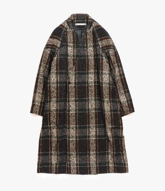 Sasquatchfabrix. Tweed Oriental Wrap Coat - Black x Beige Check
