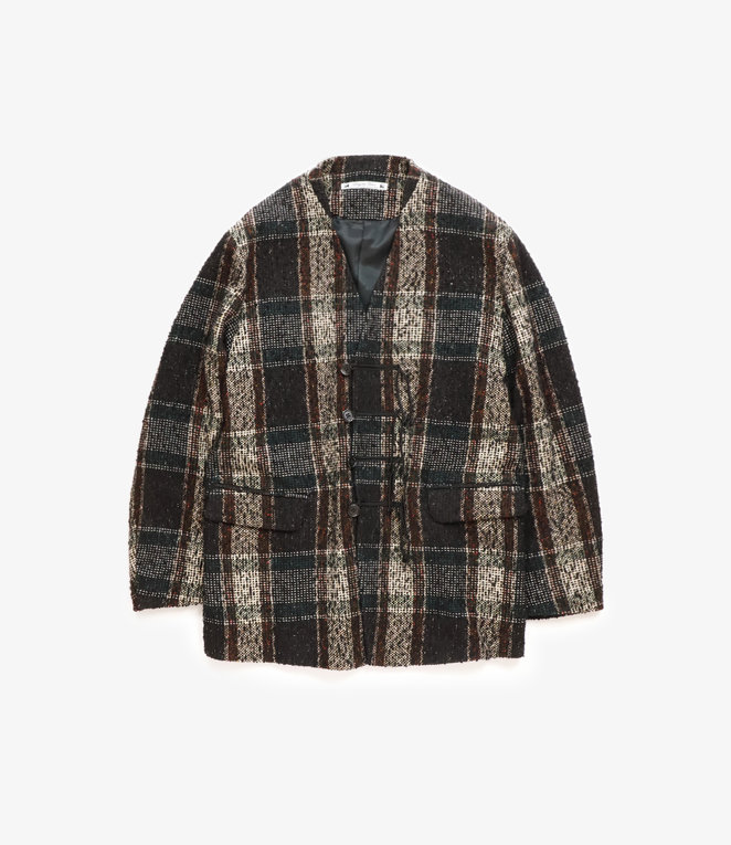 Sasquatchfabrix. Tweed Oriental Jacket - Black x Beige Check