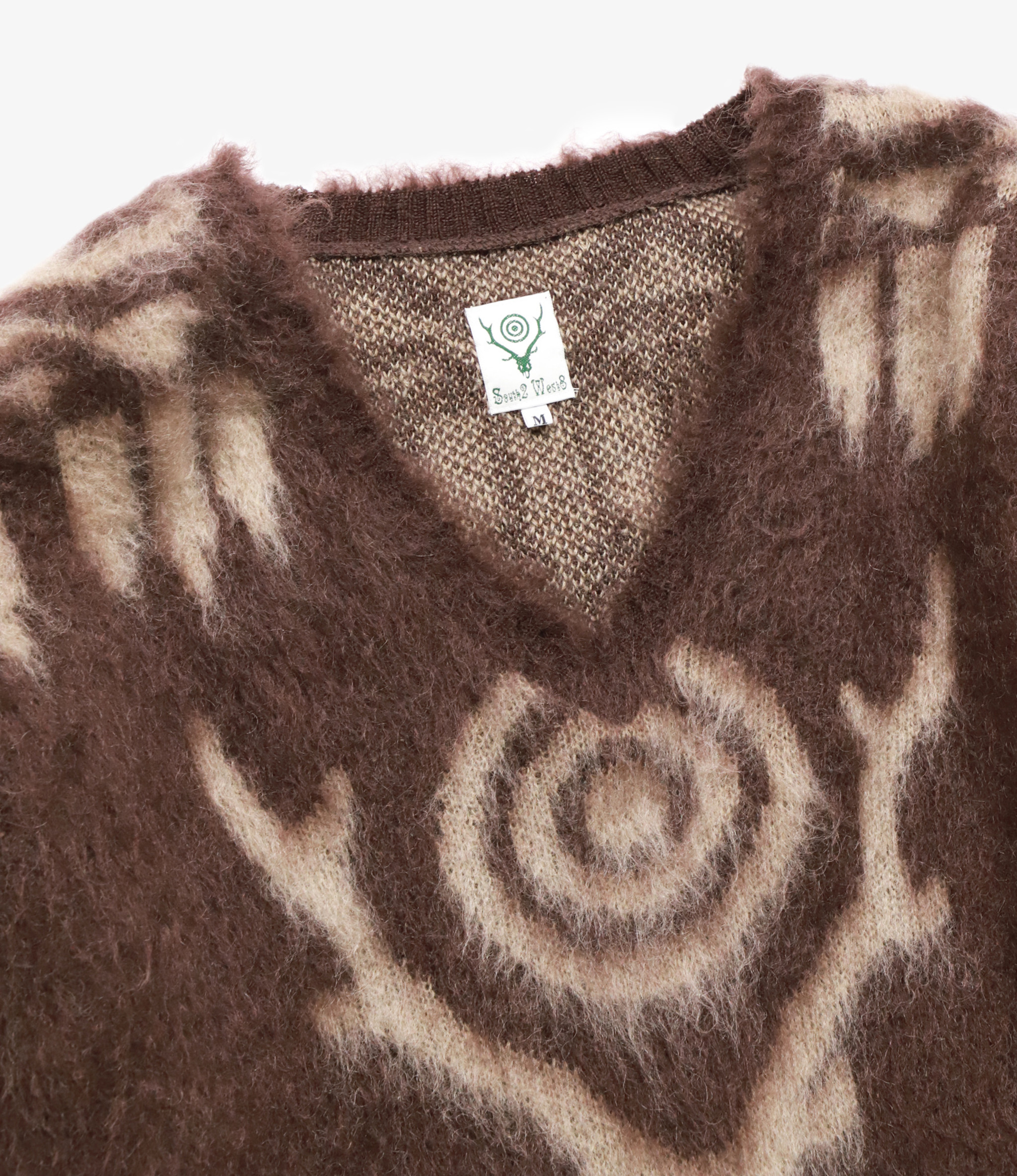 South2 West8 Loose Fit V Neck Sweater - Mohair / S2W8 Aztec Pattern - Brown