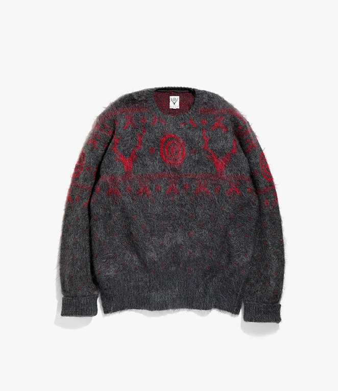 South2 West8 Loose Fit Sweater - Mohair / S2W8 Nordic - Charcoal