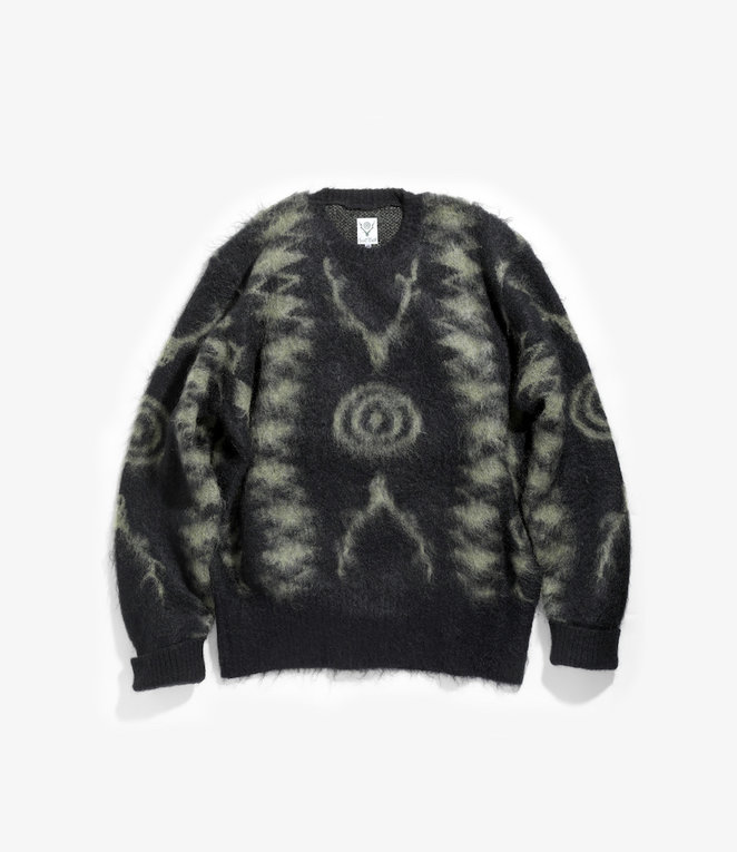 South2 West8 Loose Fit Sweater - Mohair / S2W8 Native Pattern - Black