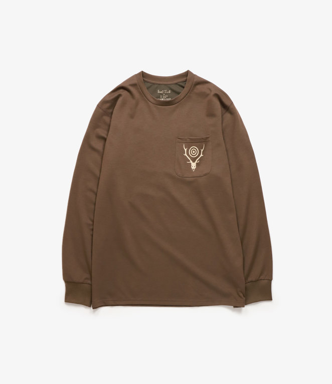 South2 West8 L/S Round Pocket Tee Circle Horn - Brown