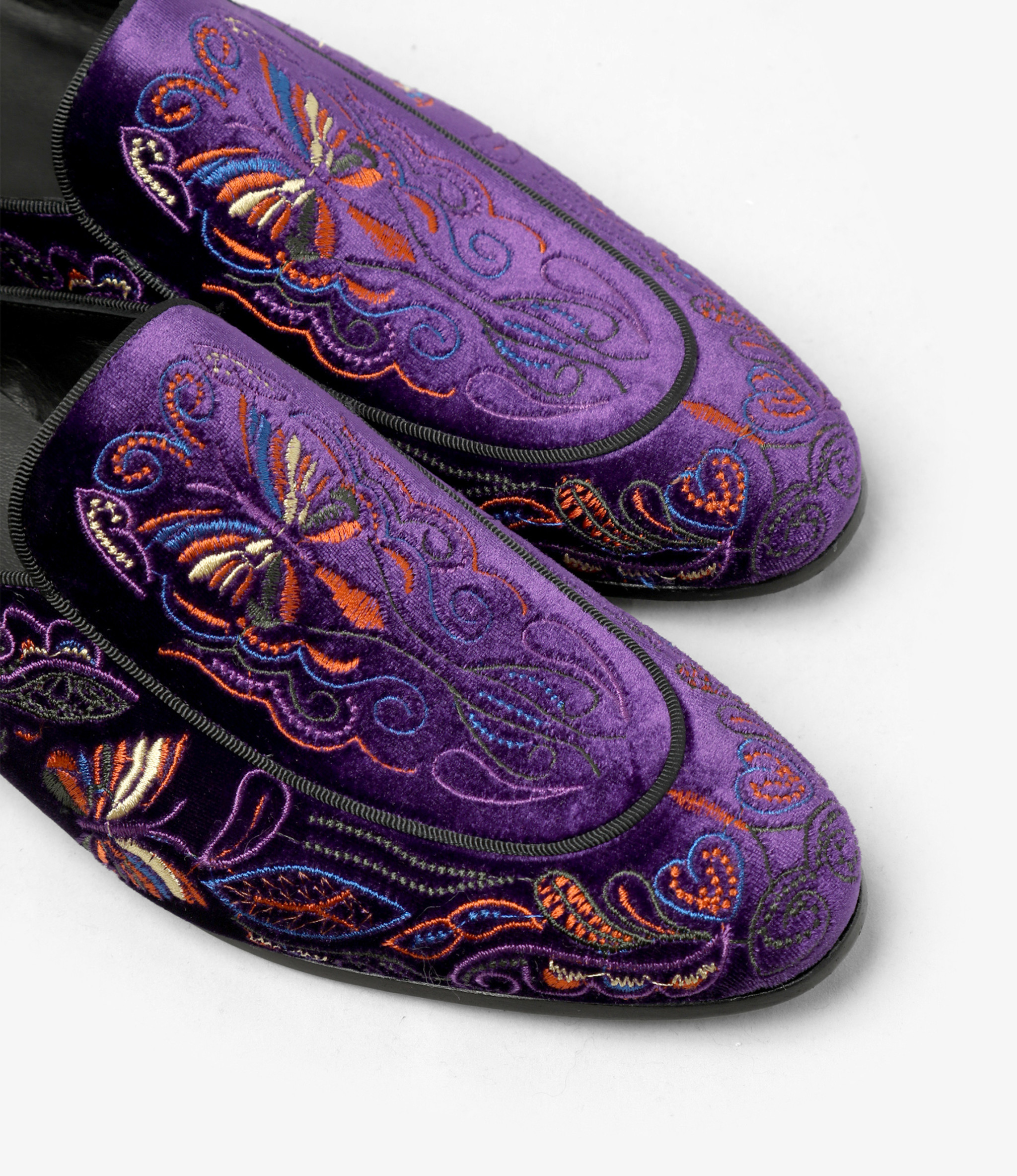 Needles Velvet Mule - Papillon Embroidery - Purple