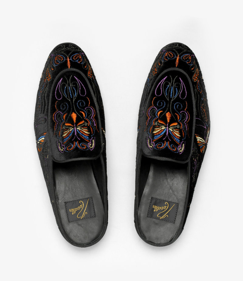 Needles Velvet Mule - Papillon Embroidery - Black