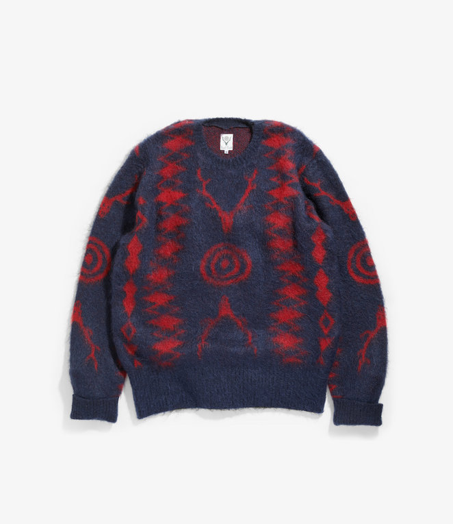South2 West8 Loose Fit Sweater - Mohair / S2W8 Native Pattern - Navy