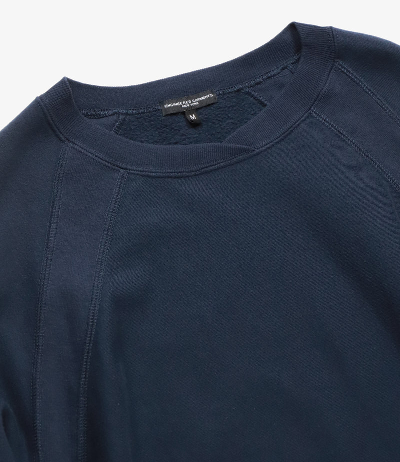 Engineered Garments Raglan Crew - Navy Cotton Fleece