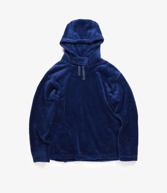 Engineered Garments Long Sleeve Hoody - Navy Polyester Shaggy Fleece