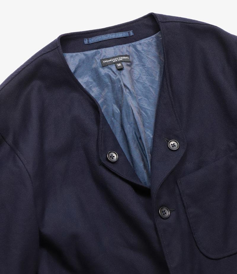 Engineered Garments No Collar Jacket - Navy Wool Uniform Serge