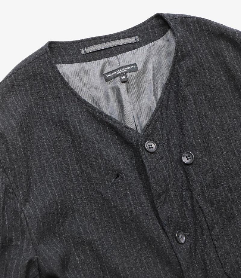 Engineered Garments No Collar Jacket - Charcoal Worsted Wool Chalk Stripe