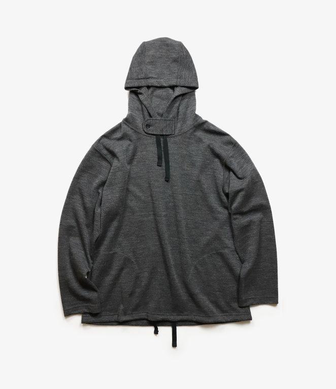 Engineered Garments Long Sleeve Hoody - Charcoal Wool Poly Merino Jersey