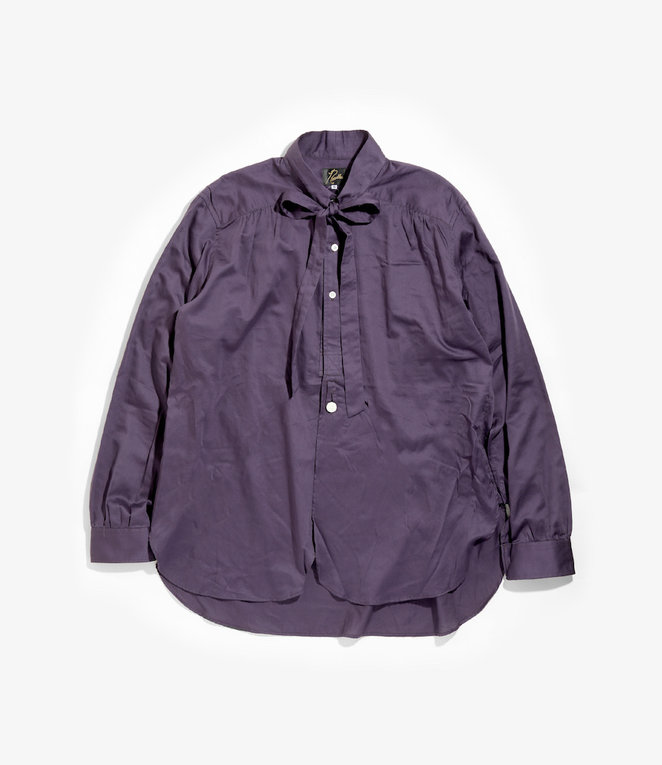 Needles Ascot Collar EDW Gather Shirt - Cotton Sateen - Purple