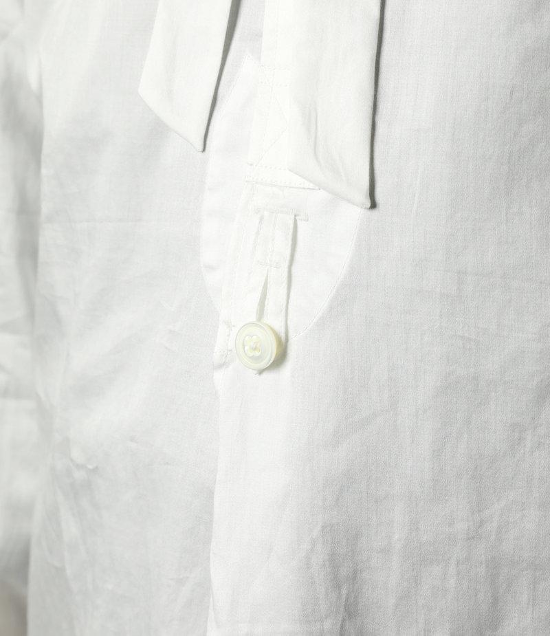 Needles Ascot Collar EDW Gather Shirt - Cotton Sateen - Off White