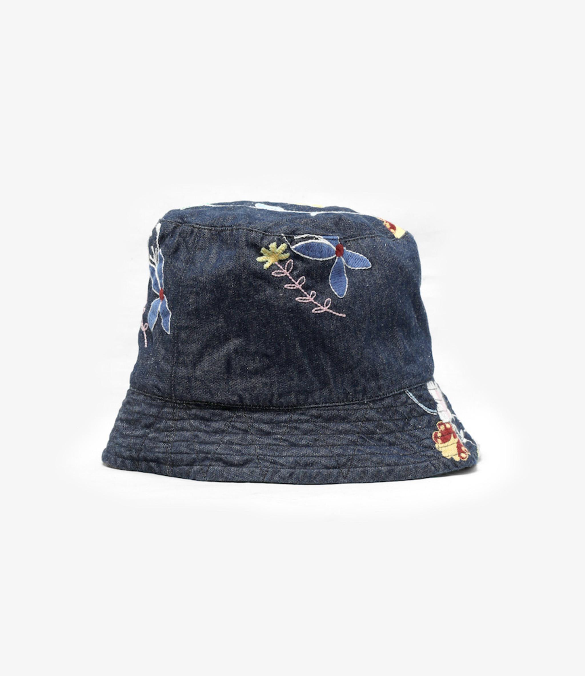 Engineered Garments Bucket Hat - Indigo Denim Floral Embroidery
