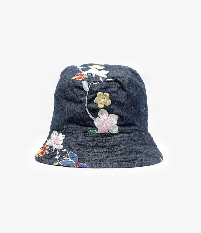 Engineered Garments EG / Bucket Hat - Indigo Denim Floral Embroidery