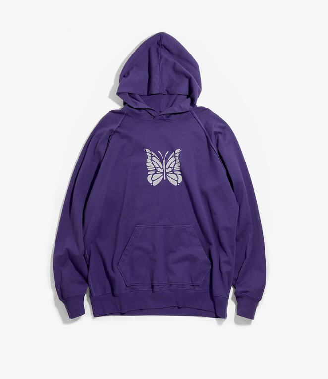 Needles Sweat Hoody - Cotton Jersey / Discharge Print - Purple
