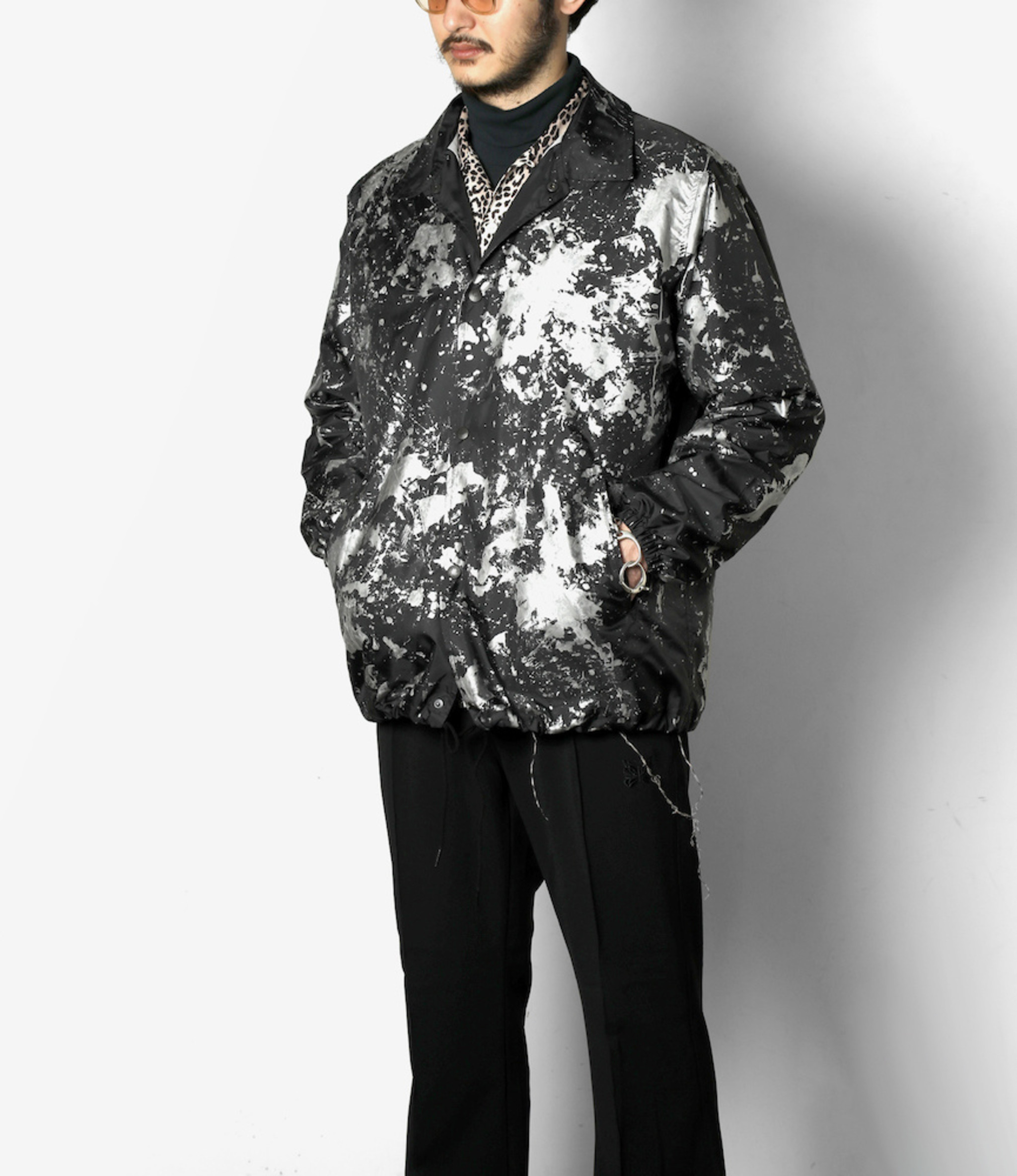 Needles Coach Jacket - Poly Taffeta / Reflective Paint - Blk/Scatter