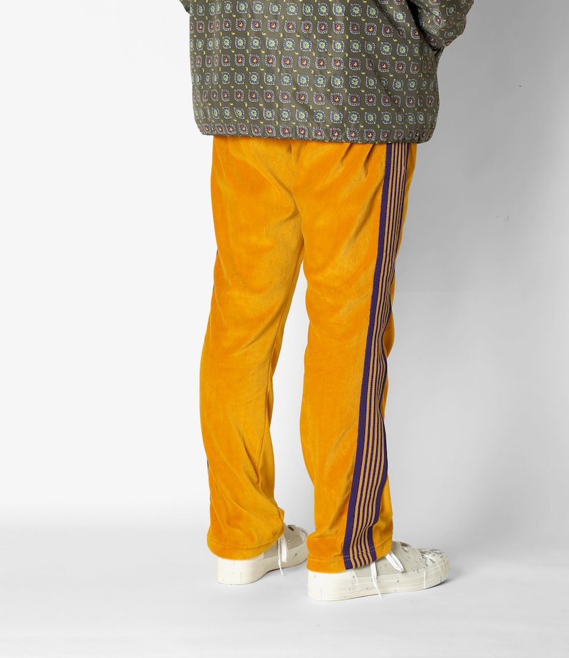 Needles  Narrow Track Pant - C/Pe Velour - Mustard