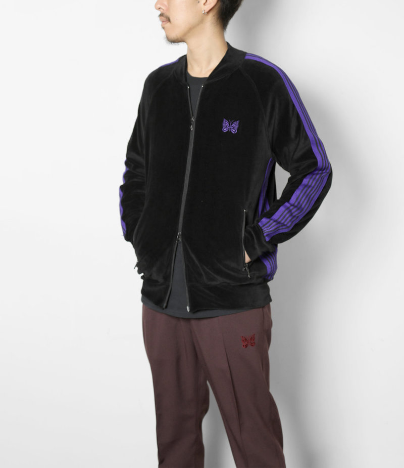 Needles Rib Collar Track Jacket - C/Pe Velour - Black