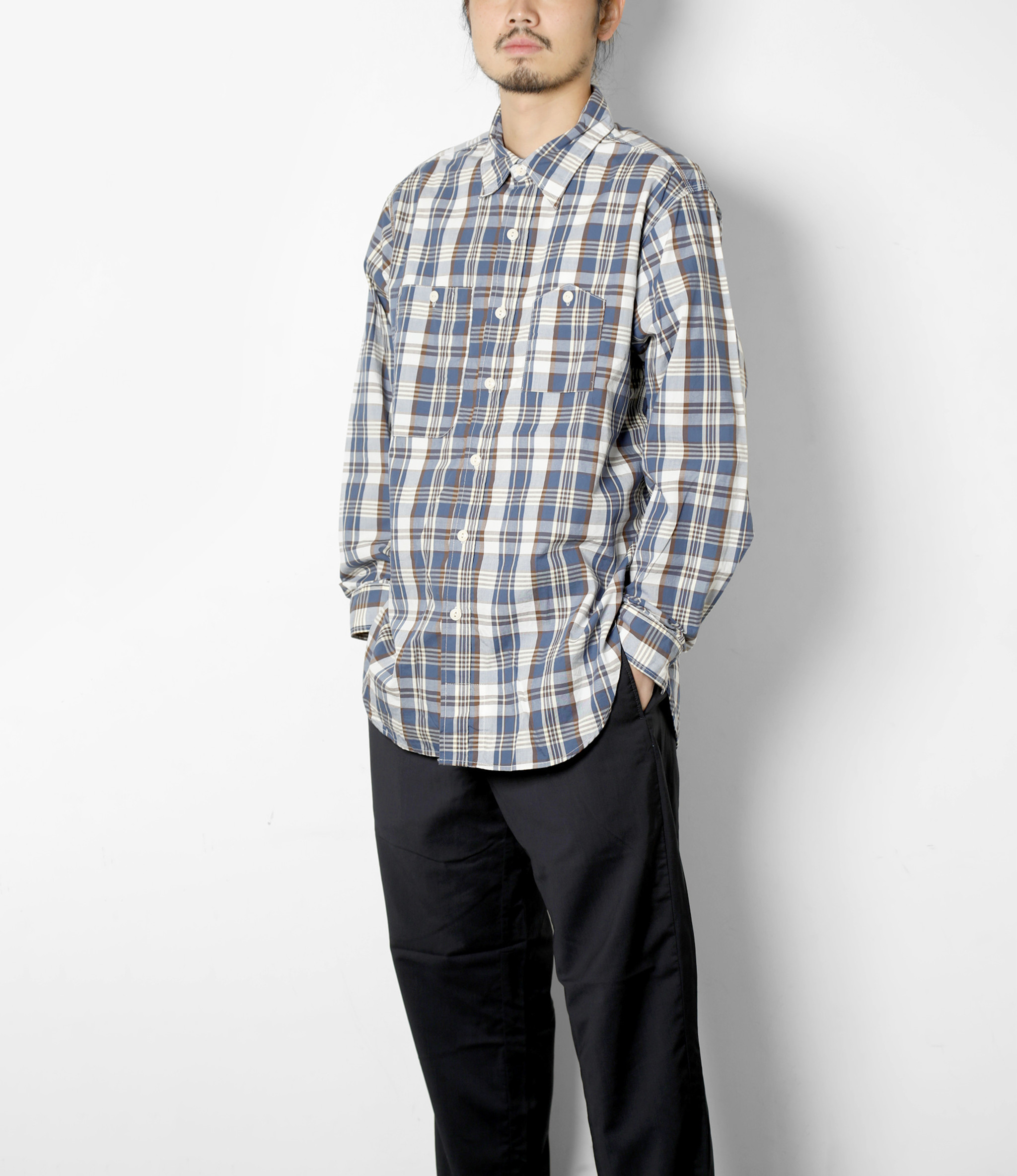 Engineered Garments Work Shirt  -  Navy/Brown Plaid Cotton Broadcloth