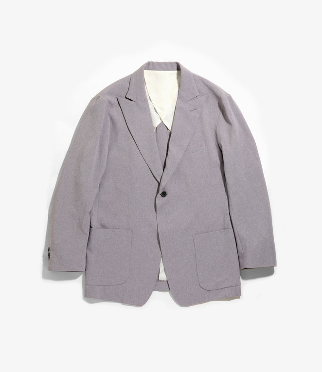 Needles Peaked Lapel 1B Jacket - Poly Chambray Cloth - Grey Violet