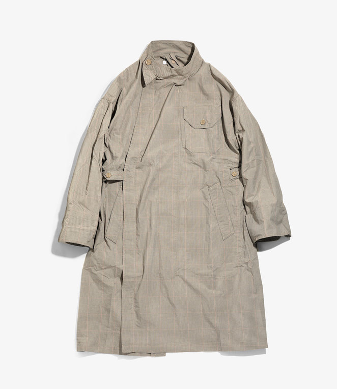 Engineered Garments MG Coat - Khaki Nyco Mini Tattersall
