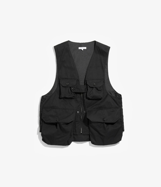 Engineered Garments Game Vest - Black High Count Twill