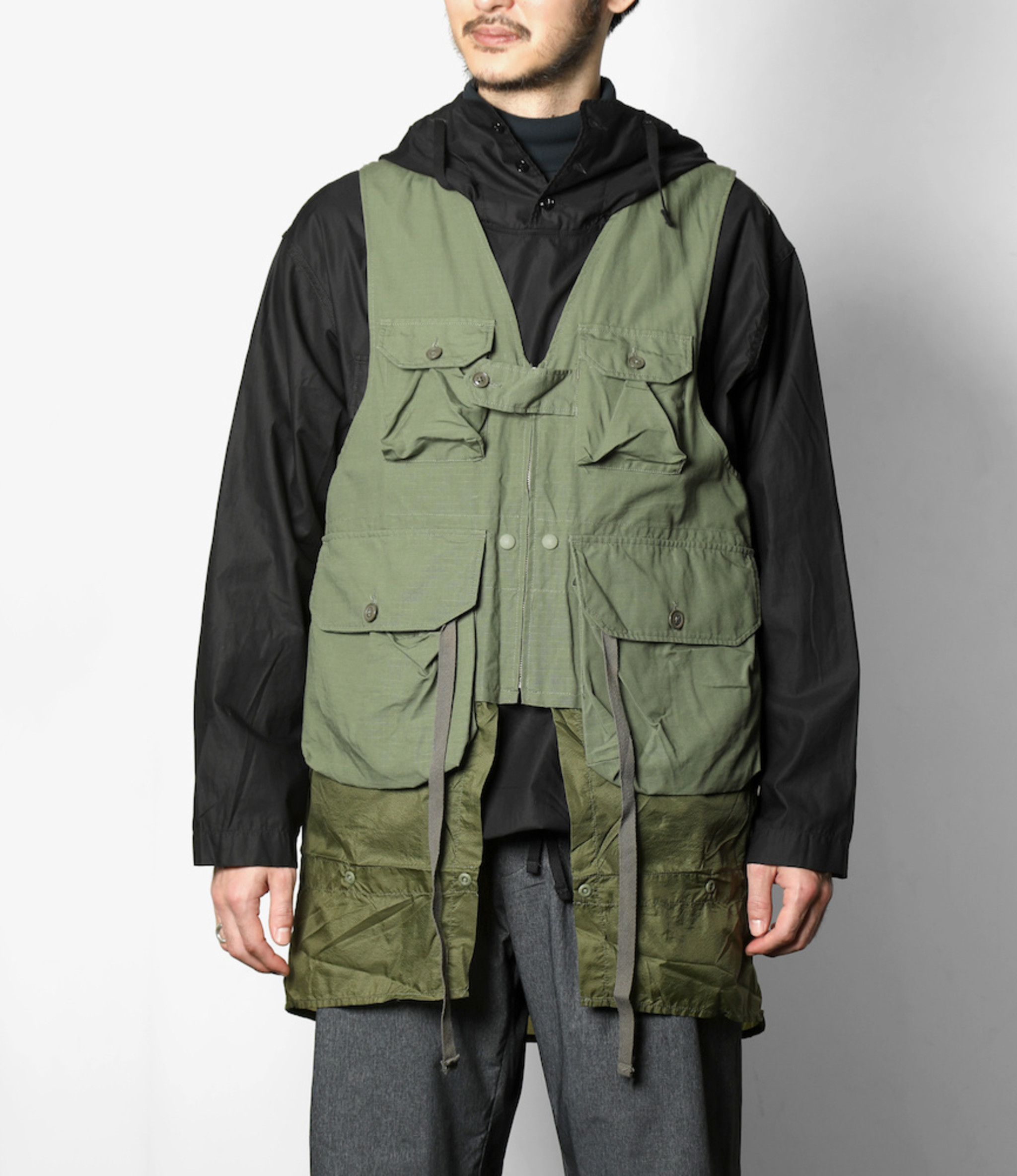 Engineered Garments Game Vest - Olive Cotton Ripstop