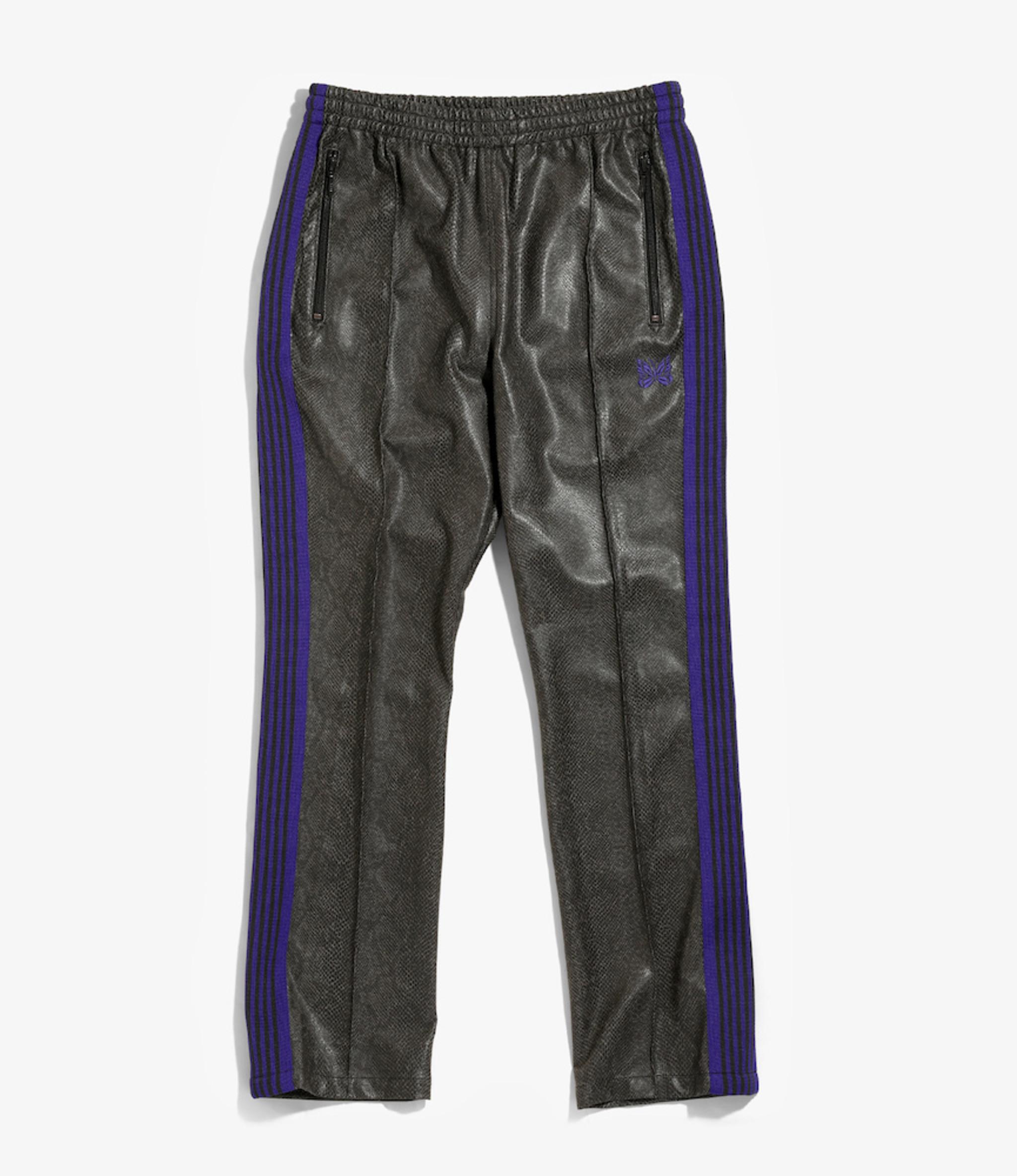 Needles Narrow Track Pant - Synthetic Leather / Python - Grey