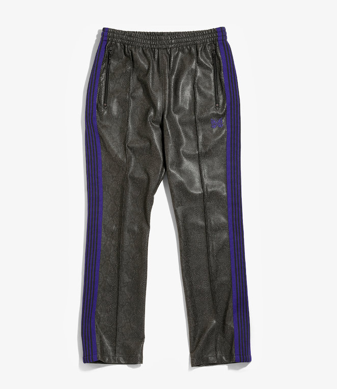 Needles Narrow Track Pant - Synthetic Leather / Python - Grey