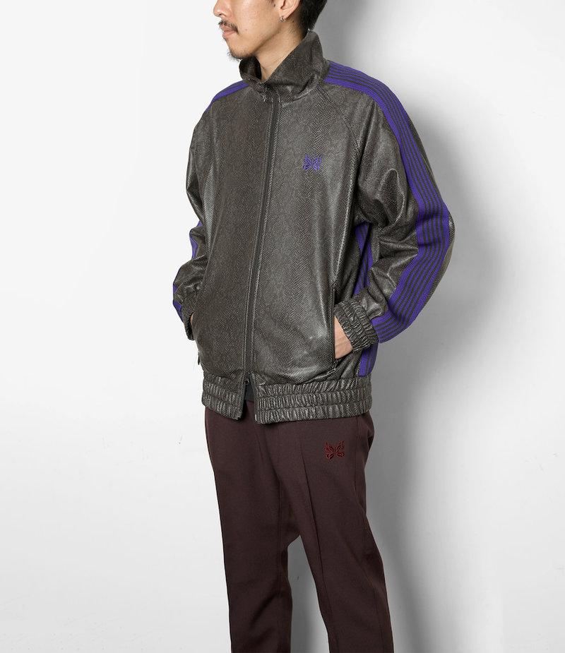 Needles Track Jacket - Synthetic Leather / Python - Grey