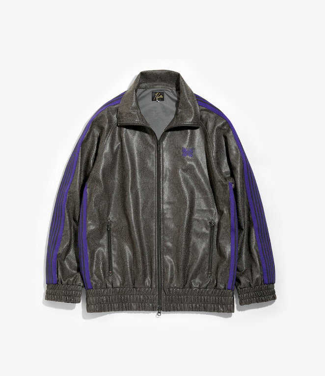 Needles Track Jacket - Synthetic Leather / Python - Grey