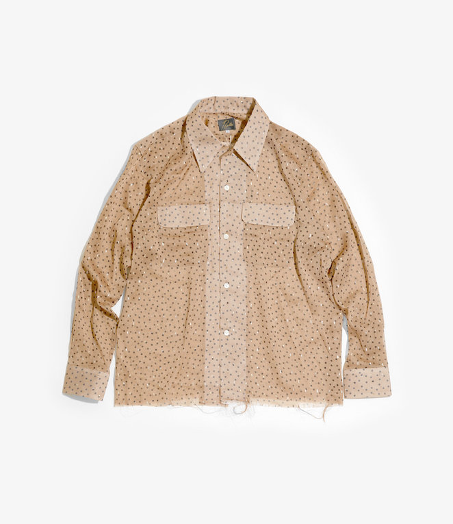 Needles Cut-Off Bottom Classic Shirt - Poly Organdy Cloth / Polka Dot Pt. - Mocha