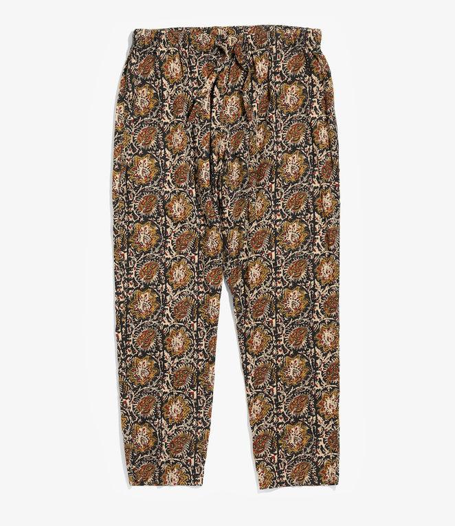 South2 West8 String Slack Pant - Printed Flannel / Paisley - Black