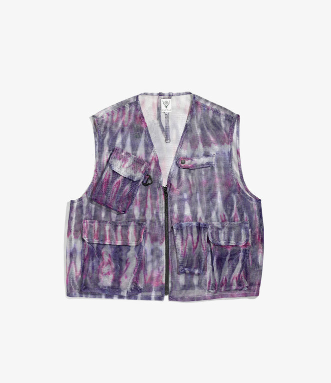 South2 West8 Mesh Bush Vest - Poly Heavyweight Mesh / Print - Tie Dye