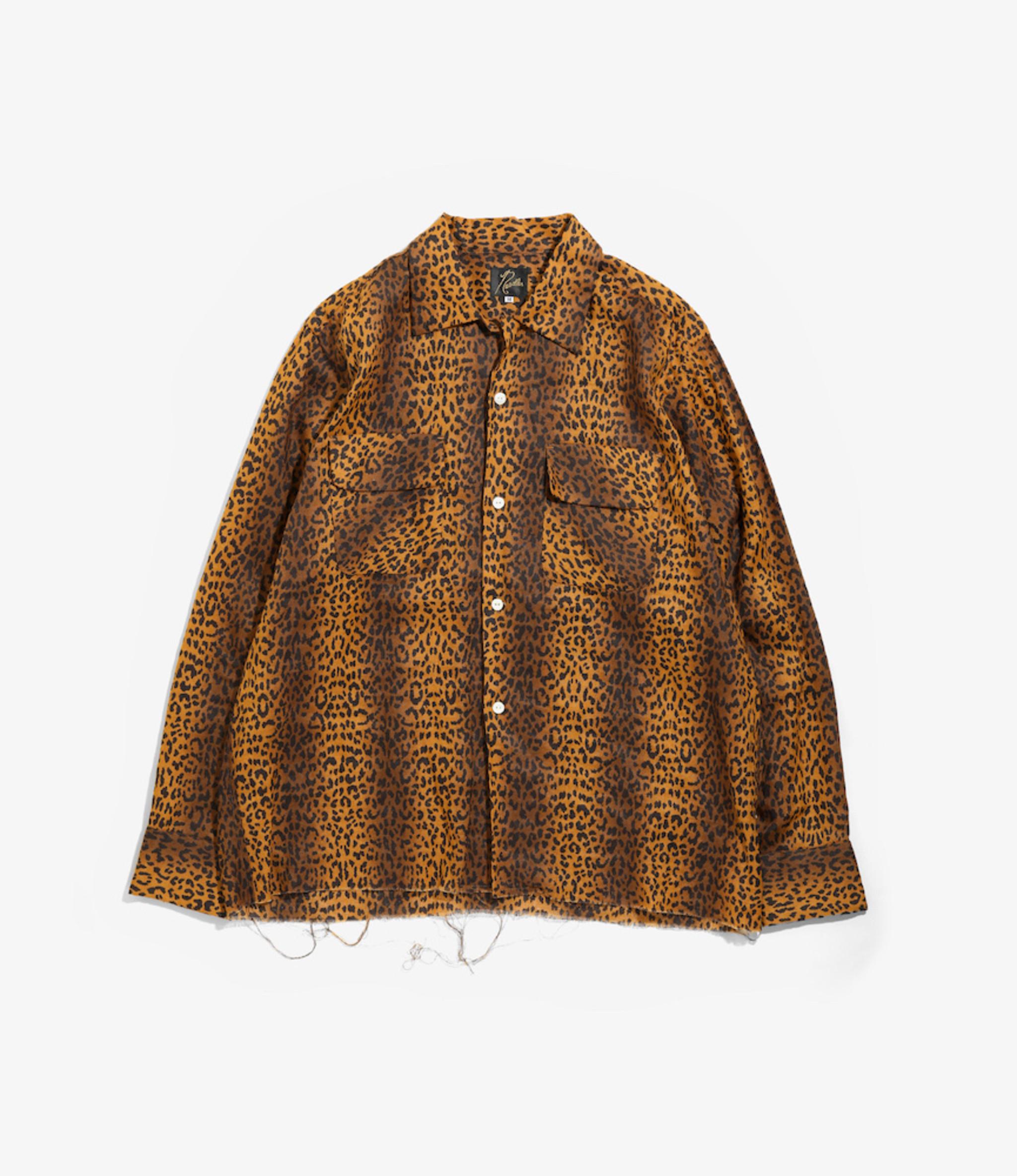 Needles Cut-Off Bottom Classic Shirt - Linen Cloth / Leopard Print - Brown