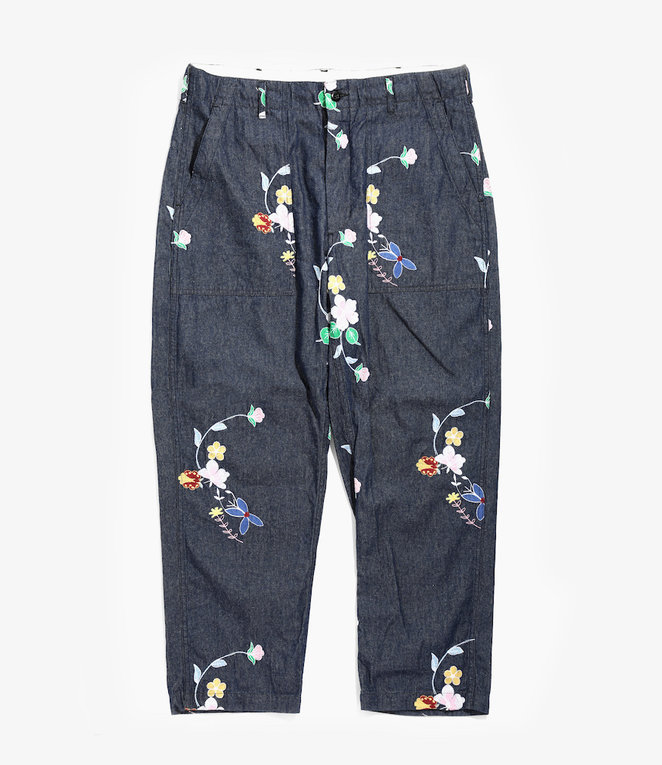 Engineered Garments Fatigue Pant - Indigo Denim Floral Embroidery
